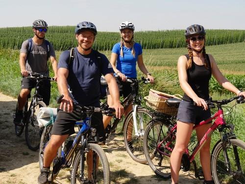 Im Film werden vier junge Leute mit der Kamera auf einer Radtour durch die Holledau begleitet – auf der Spur des bayerischen Hopfens.